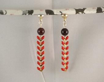 Garnet, red enameled chevron chain earrings, Stud Earrings removable MoovClipEar®