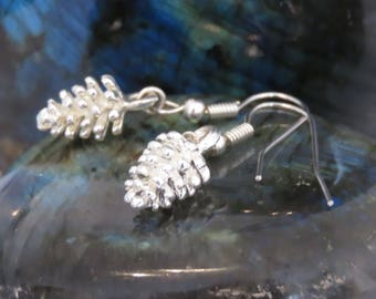Small and Dainty Silver Pine Cone Earrings