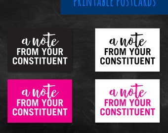 Political Postcard - Write the Congress - Activism - Womens March - Feminism - Equality - Equal Rights - Trump - Printable