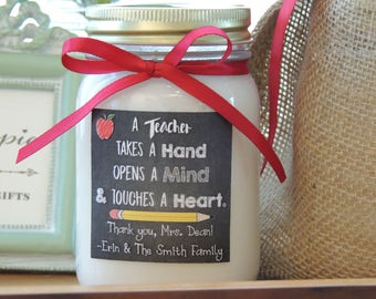 Custom Soy Candle//Vibrant Custom Label//Matching Satin Ribbon//Personalized Gifts//Best Teacher//Thank You Teacher Candle