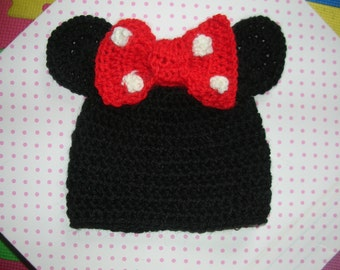 Tg 6/12 months crochet Minnie bonnet