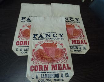 3 Vintage Lamberson Corn Meal Bags, Colon Michigan - 1890's