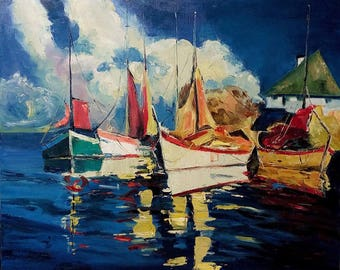 Fishing boats 50x60 cm Oil painting (freestyle copy) on cotton canvas with brushes & pallet knife. Gallery stretch.