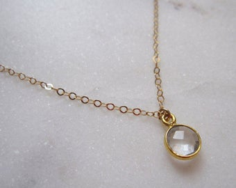 Heal Necklace, Gold Necklace, Gold Filled Necklace, Round Crystal Pendant Necklace, Crystal Pendant, Clear Crystal Necklace, Quartz