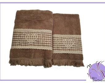Hazel Embroidered towel set Broderie Suisse with Swarovski
