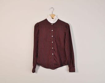 Striped Prairie Blouse, 70s High Neck Blouse, Vintage Striped Blouse, Loose Long Sleeve Button Up Shirt, Romantic Victorian Style Blouse