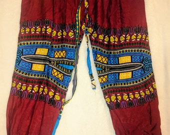Maroon with blue African Print Harem Pants