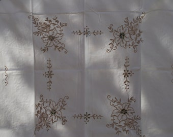 Vintage Tablecloth Cream Embroidered Flowers