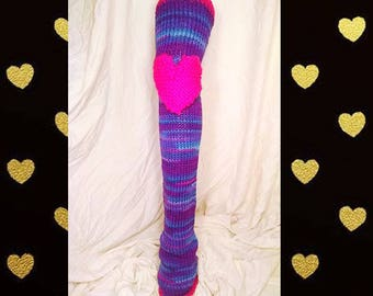 Chelsea Leg Warmers - Dance Leg Warmers - Woman's Leg Warmers - Knit - Crochet - Thigh High - Knee Pads – Purple Fizz with Neon Pink Accents