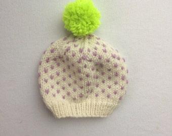 "Lavender ""Lu"" Speckle Baby Hat: 0-6 months"