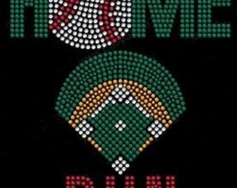 Baseball Home Run Rhinestone Iron On Transfer               HD0N