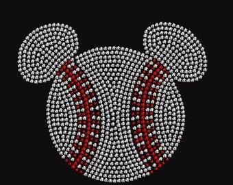 Baseball Mini Mouse Rhinestone Iron On Transfer            4EAQ