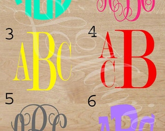 Monogram Decal- 3 letter- 1 color monogram