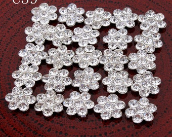 Free Shipping 30pcs/lot 11MM Bling Metal Snow Rhinestone Button For Craft Flatback Crystal Decorative Buttons For Baby Girl Hair Accessories