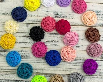 """Free Shipping Matte Satin Silk Flowers For Baby Hair Accessories Artificial Rolled Rosette Fabric Flowers For Headbands Craft Supplies 3"""""""