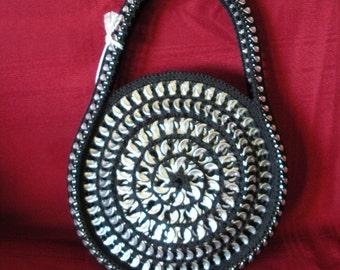 Fun Circular Black Handbag made from Upcycled Soda Tabs