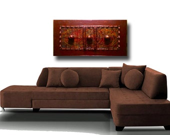 """Free Shippng!  Integrated Worlds, 25""""x 49"""" x 2.25"""" Mixed Media under ArtResin and Wood, ContemporaryArt, Maroon, Copper, Bronze, Orange"""