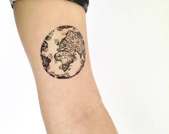 Earth Globe Temporary Tattoo (2 sizes)