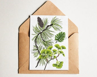 Plant Postcard, Nature Postcard, Ginkgo, Pinecone, Green Print, Botanical Print, Forest