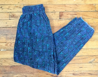 Vintage 80s Maui MC Hammer Muscle Beach Surf Pants w/ Elastic Band Made in USA, Size Medium