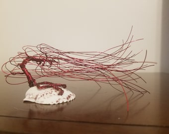 Red Windswept Wire Bonsai