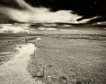 Photography black & white tip of Conguel in Quiberon - Brittany, France / Black and White Photography Fine Art Landscapes of France