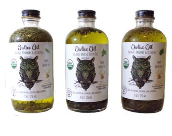Owlive Oil Organic Infused Olive Oil 3 Herb Set