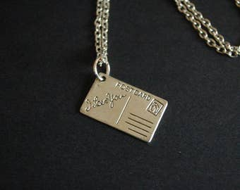 I love you post card necklace