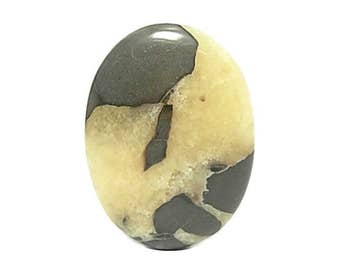 Utah Septarian with Yellow Calcite & Gray Siltstone, Calibrated Natural Gemstone Cabochon, 40x30 mm