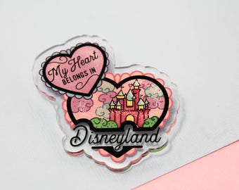 My heart belongs in disneyland! - Laser Cut Illustrated Acrylic Brooch - tattoo flash design pin collar clip disneycastle
