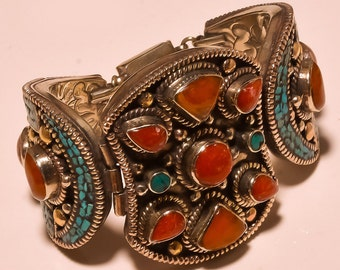 Nepal Jewellry,Gypsy Cuff,Beaded Trible Style Turquoise & Coral Lovely Mother Gift