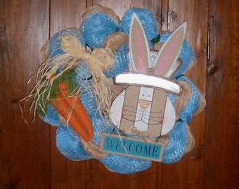 OOAK Wreath, Bunny Wreath, Easter Swag, Spring Wreath, Bunny Easter Swag, Easter Bunny Wreath, Easter Bunny Door Hanger