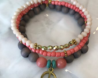 Set of 3 women's stackable bracelets