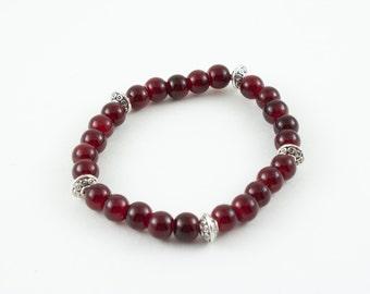 Red beaded bracelet, silver charm bracelet, red beads, silver beads, stretchy bracelet, yoga lover