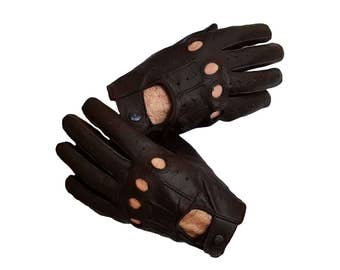 Genuine leather Driving dark brown Gloves