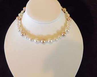 Multi-toned Pink Pearl Necklace