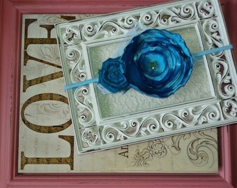 Blue satin flower headband