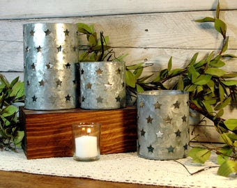 Tin Candle Holder, Tin Star cut out, Metal candle holder, Galvanized candle holder, Country candle, Farmhouse candle holder, Kitchen decor