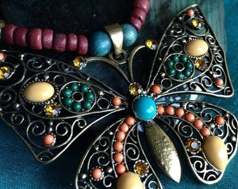 Butterfly Wood Beaded Necklace