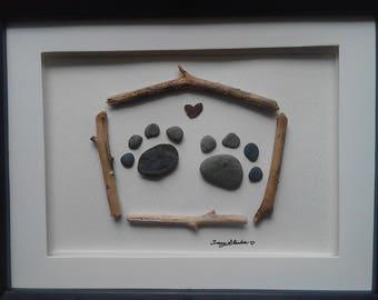 pets, pebble art, paw prints, rock art, stones, sticks