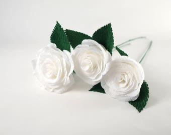 Crepe paper rose white 3 pcs with stem, crepe paper flower, realistic paper flower, cream white bouquet, paper roses, shabby chic flowers