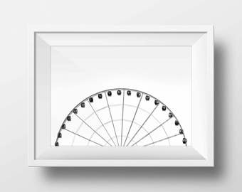 Black and White Ferris Wheel Art Ferris Wheel Carnival Wall Print Art Wall Decor Digital Art Print State Fair