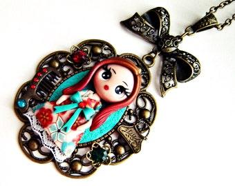 Polymer clay doll: Doll necklace - Clay doll - Vintage doll - Polymer clay necklace - Handmade doll - Kawaii doll