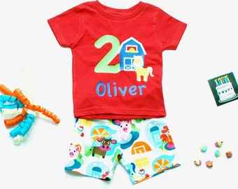 Farm Birthday Outfit, featuring your child's name & age on a red shirt; perfect for a barnyard or farm party