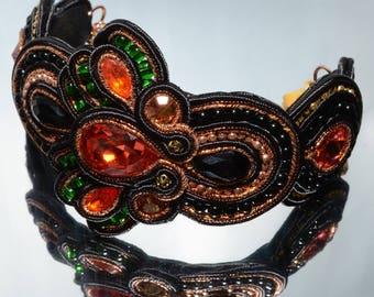 Cuff Bracelet, Swarovski crystal, Soutache Bracelet