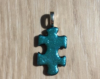 Dichroic Fused Glass Pendant - Pale Teal Green Puzzle Pendant