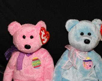 Ty Beanie Babies Pair of Easter Themed Bears - Eggs And Eggs II