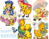 Sweet Easter Chicks,  Printable Collage Sheet (digital download, printable)