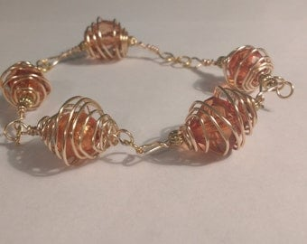 Amber Orb Link Bracelet