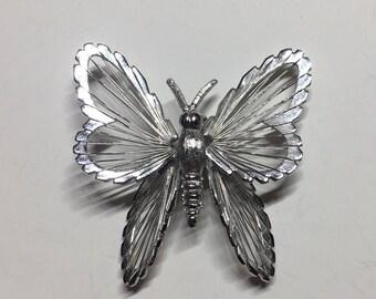 Beautiful Silver-toned Butterfly Brooch